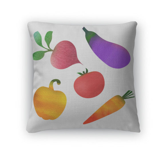 Throw Pillow, Set Of Vegetables Isolated On White - Throw Pillow - Payabee Home Goods
