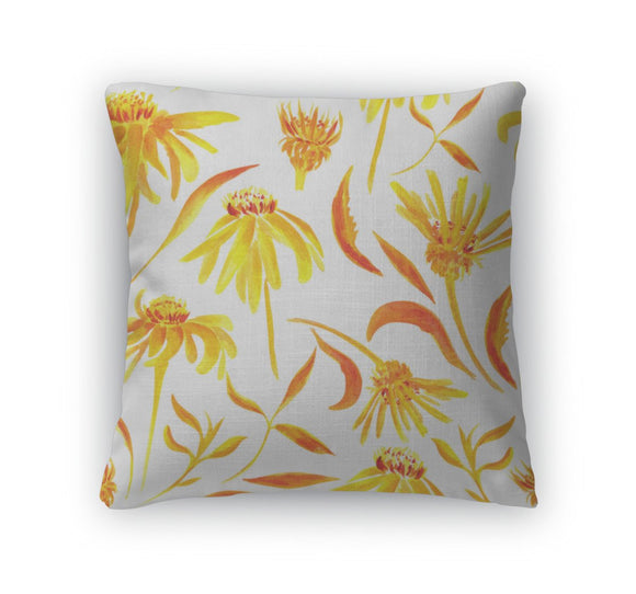 Throw Pillow, Watercolor Pattern With Flowers - Throw Pillow - Payabee Home Goods