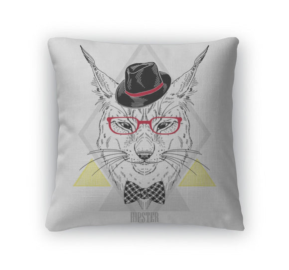 Throw Pillow, Hand Drawn Portrait Of Hipster Lynx In Geometric Frame - Throw Pillow - Payabee Home Goods