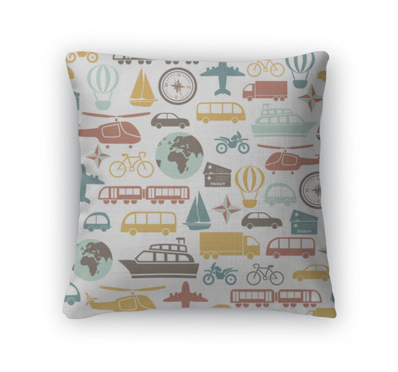 Throw Pillow, Pattern With Colorful Transport Icons - Throw Pillow - Payabee Home Goods