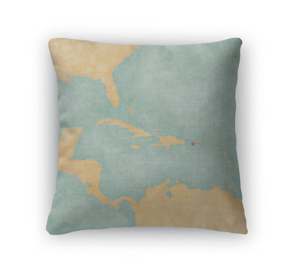 Throw Pillow, Map Of Caribbean Puerto Rico Vintage Series - Throw Pillow - Payabee Home Goods