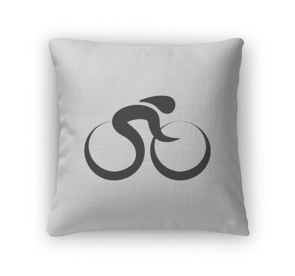 Throw Pillow, Cycling Biking Monochrome On White - Throw Pillow - Payabee Home Goods