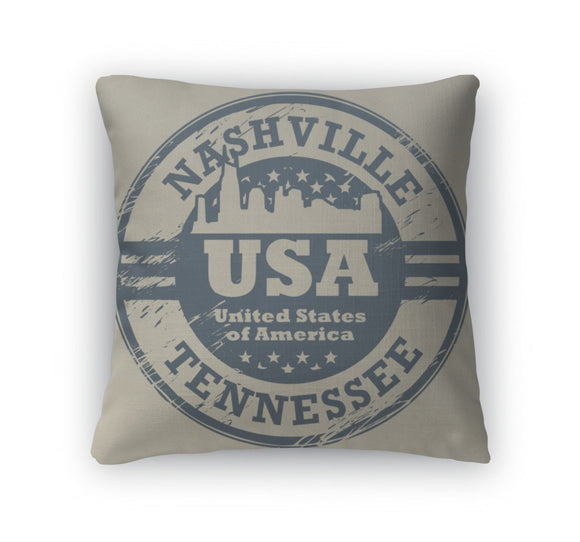 Throw Pillow, Tennessee Nashville Stamp - Throw Pillow - Payabee Home Goods