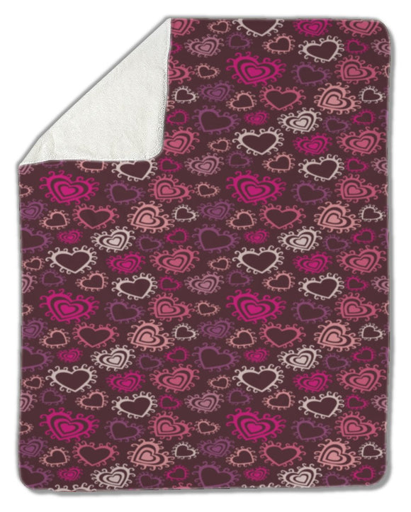 Blanket, Romantic pattern with hearts - Blankets - Payabee Home Goods