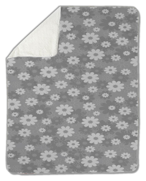 Blanket, Gray floral pattern - Blankets - Payabee Home Goods