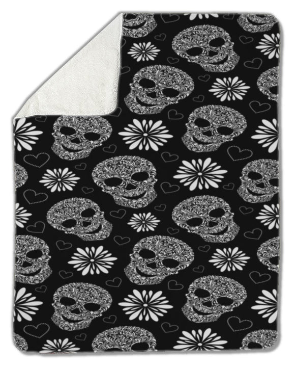 Blanket, Abstract floral skulls - Blankets - Payabee Home Goods