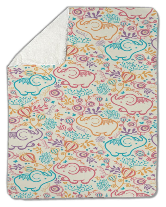 Blanket, Elephants With Flowers - Blankets - Payabee Home Goods