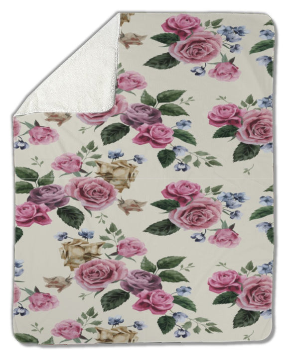 Blanket, Floral pattern with pink roses - Blankets - Payabee Home Goods