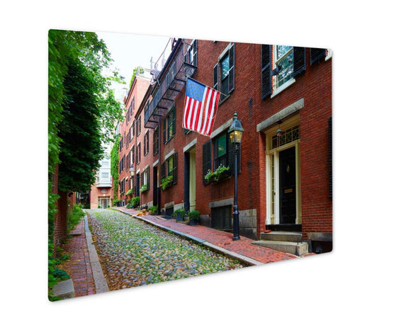 Metal Panel Print, Acorn Street Beacon Hill Cobblestone Boston In Massachusetts USA - Metal Panel Print - Payabee Home Goods