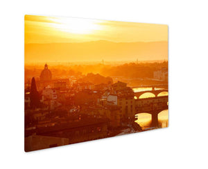 Metal Panel Print, Bridges The Arno River Florence Italy Old Town In Evening Sunset - Metal Panel Print - Payabee Home Goods