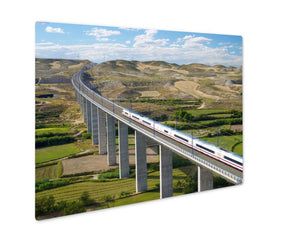 Metal Panel Print, Barcelonview Highspeed Train Crossing Viaduct Roden - Metal Panel Print - Payabee Home Goods