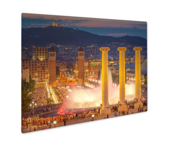 Metal Panel Print, Night View Of Magic Fountain In Barcelona - Metal Panel Print - Payabee Home Goods