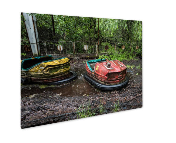 Metal Panel Print, Central Park Abandoned Cars In Pripyat Park Chernobyl UKraine - Metal Panel Print - Payabee Home Goods