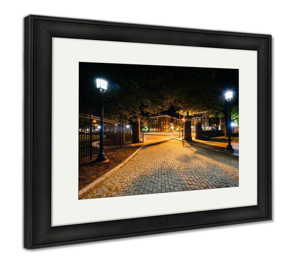 Framed Print, The Cobblestone Driveway To Johns Hopkins University At Night I - Framed Print - Payabee Home Goods