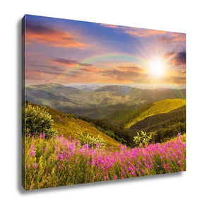 Gallery Wrapped Canvas, Wild Flowers On The Mountain Top At Sunset - Gallery Wrapped Canvas - Payabee Home Goods