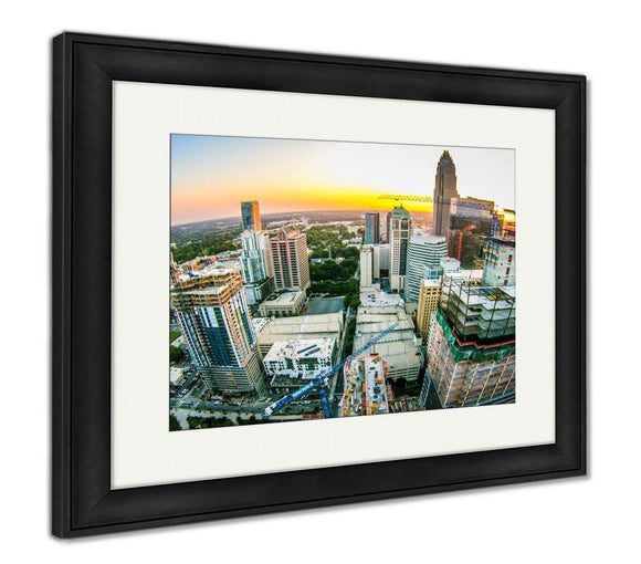 Framed Print, Aerial Views At Sunrise Over Charlotte North Carolina - Framed Print - Payabee Home Goods
