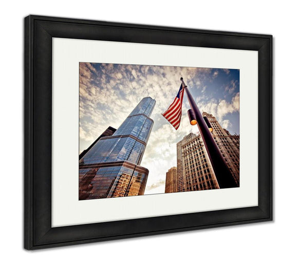 Framed Print, American Flag Over Skyscrapers - Framed Print - Payabee Home Goods