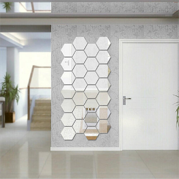 12, 24, 36, 48, or 60-Piece 3D Hexagon Acrylic Mirror Wall Stickers - Wall Stickers - Payabee Home Goods