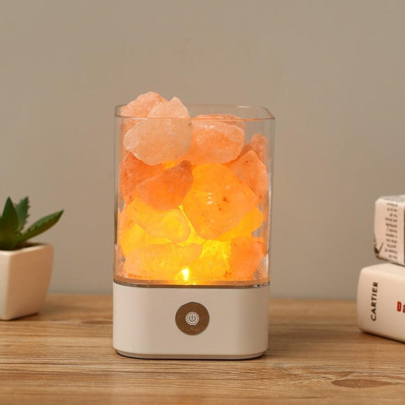 Natural Himalayan Salt Lamp with LED Base - Table Decor - Payabee Home Goods