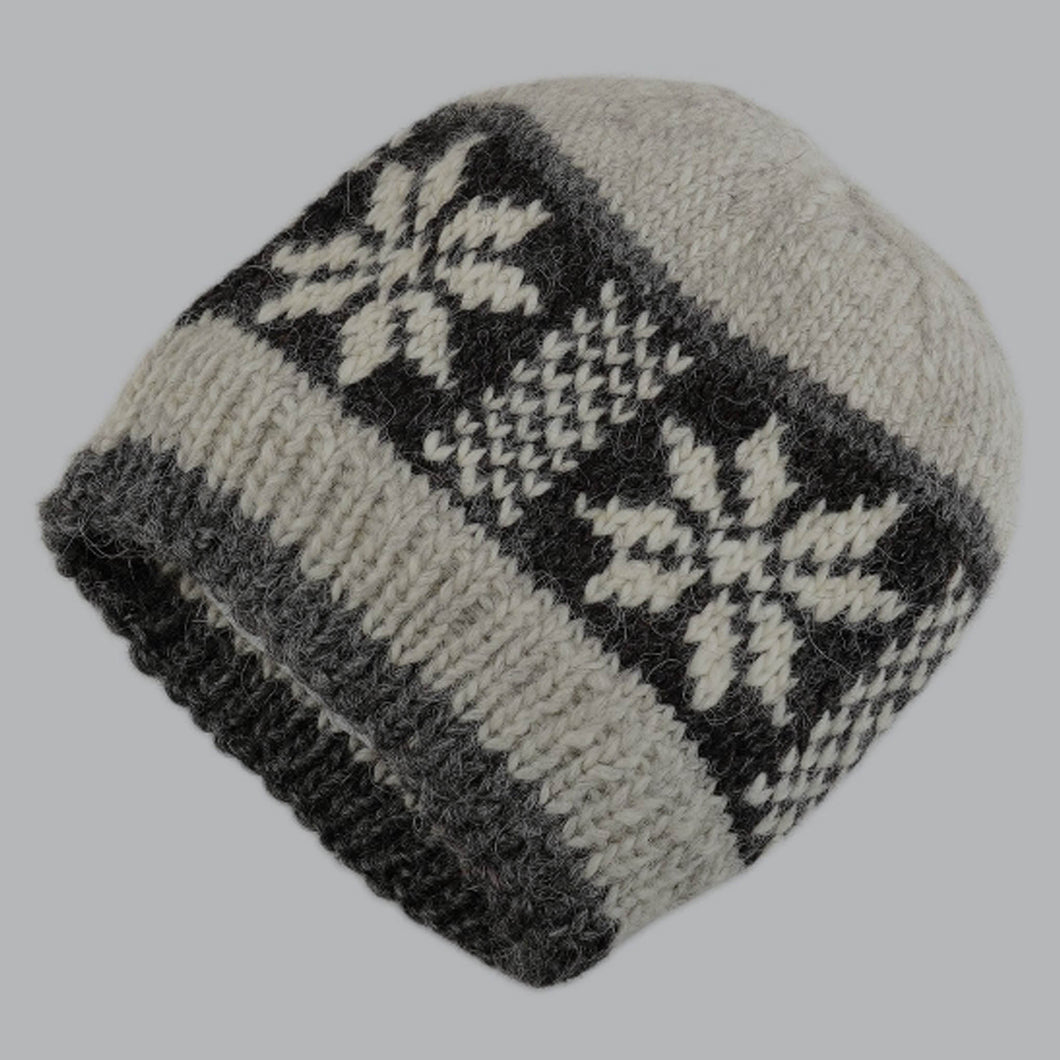 Grey Hand Knitted Hat For Him