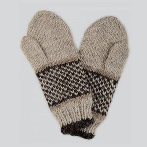 Beige Hand Knitted Gloves For Him