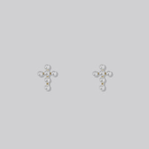 Golden Cross Pearl Earrings
