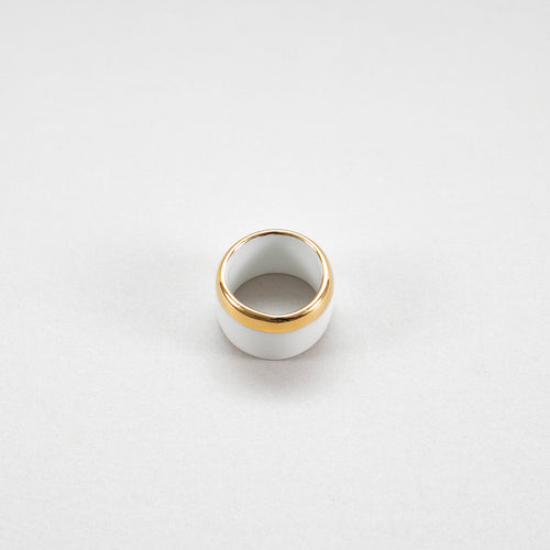Porcelain Ring Gold S white