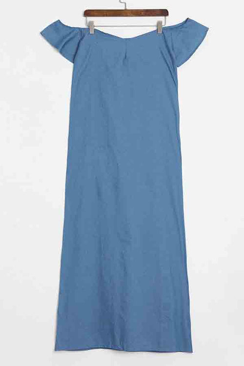 Mercidress Casual Denim Floor Length Dress