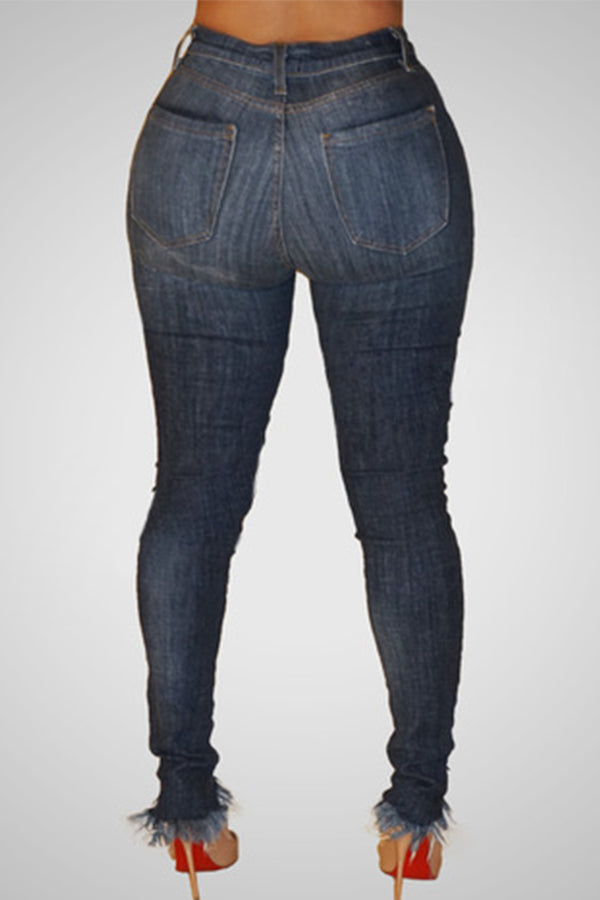 Mercidress Trendy High Waist Broken Holes Denim Pants