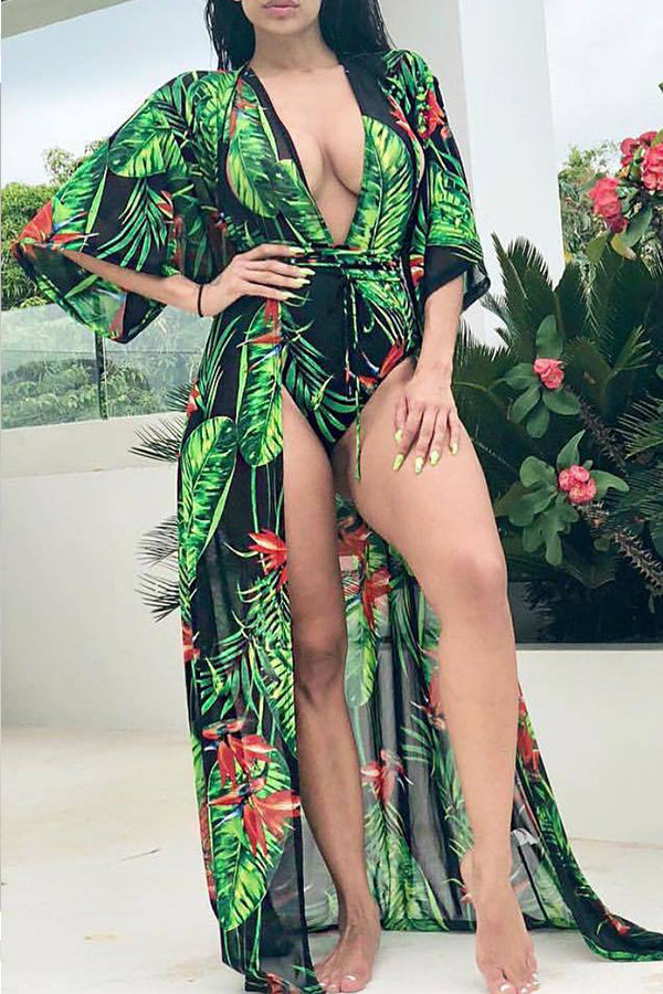 Mercidress Sexy Halter Floral Printed Swimwear (With Cover-up)