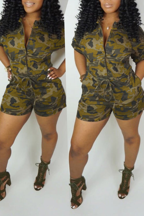 Mercidress Casual Camouflage Printed One-piece Rompers