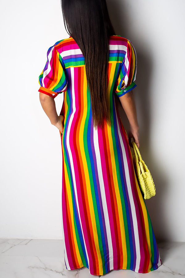 Mercidress Striped  Floor Length Dress