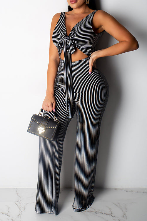 Mercidress Trendy Backless Striped One-piece Jumpsuit