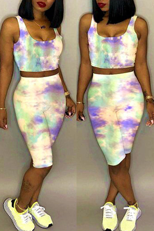 Mercidress Leisure Tie-dye Two-piece Shorts Set
