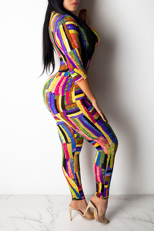 Mercidress Casual Printed Zipper Design Jumpsuit