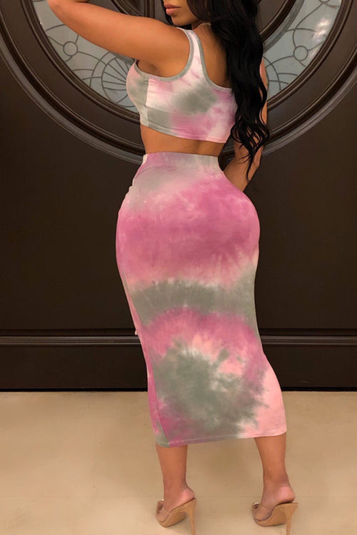 Mercidress Casual Tie-dye Printed Two-piece Skirt Set