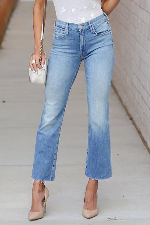 Mercidress Chic Raw Edge Flare Jeans