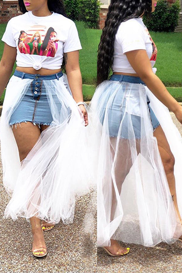 Mercidress Stylish Gauze Patchwork Denim Floor Length Skirt