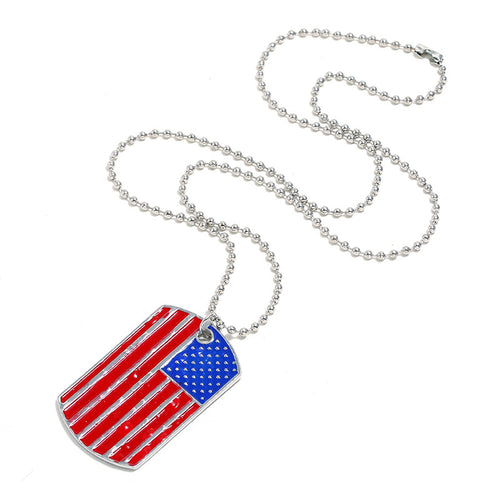 Mercidress Independence Day Fashion Striped Patchwork Alloy Necklace