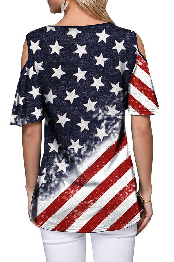 Mercidress Independence Day Casual Printed Patchwork Cotton T-shirt