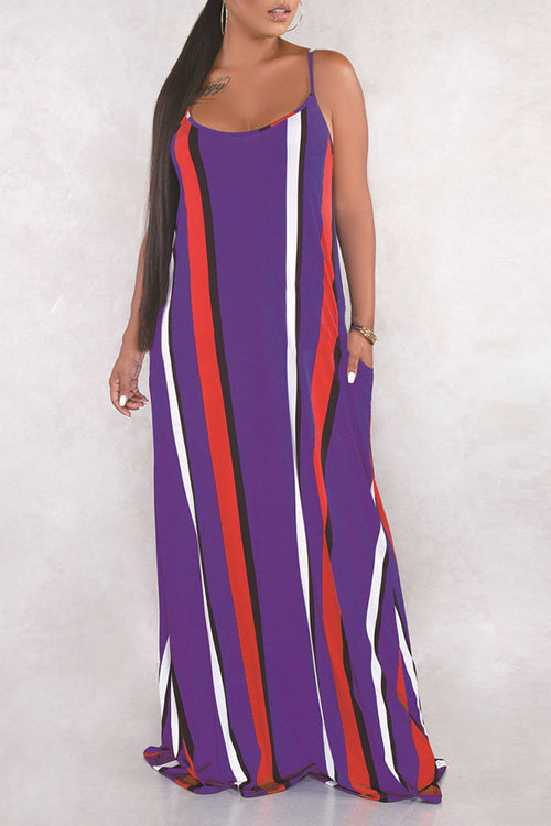 Mercidress Stylish U Neck Spaghetti Straps Striped Floor Length Dress