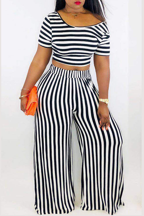 Mercidress Casual Striped Printed Two-piece Pants Set