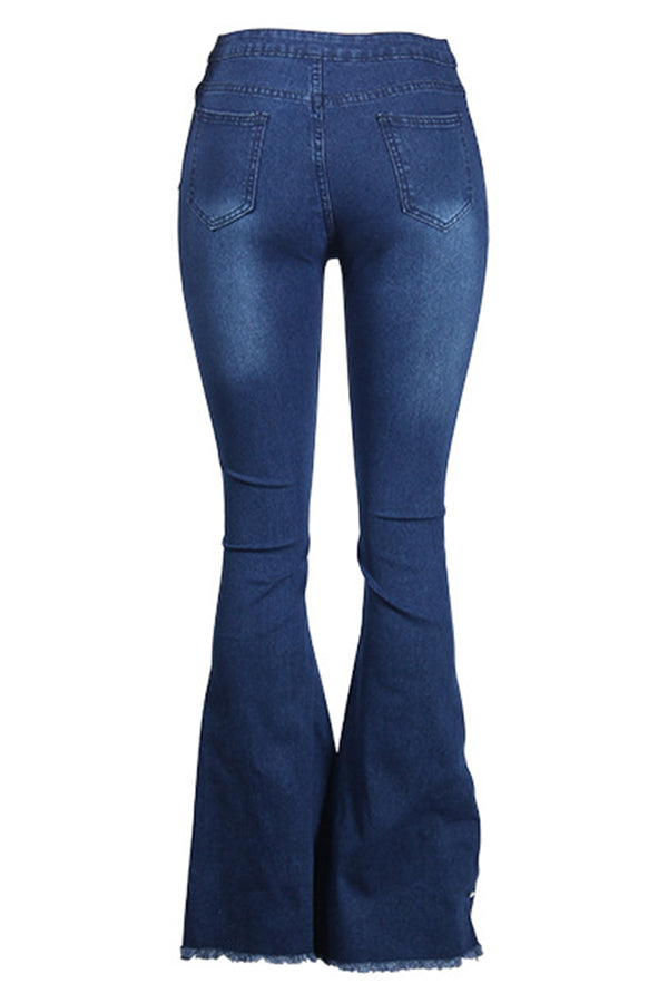 Mercidress Casual High Waist Rhinestone Decoration Jeans