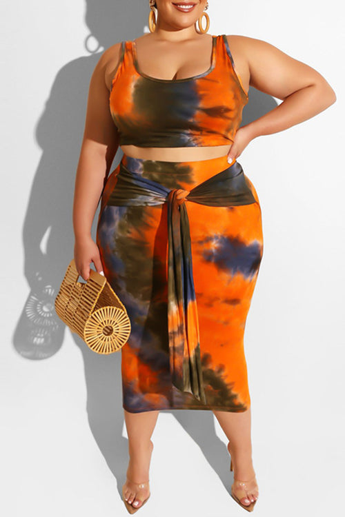 Mercidress Casual Tie-dye Two-piece Skirt Set