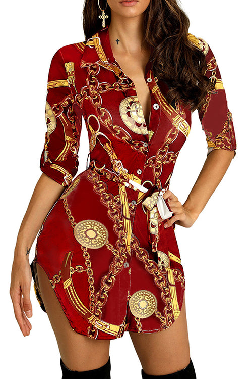 Mercidress Stylish Turndown Collar Printed Mini Dress