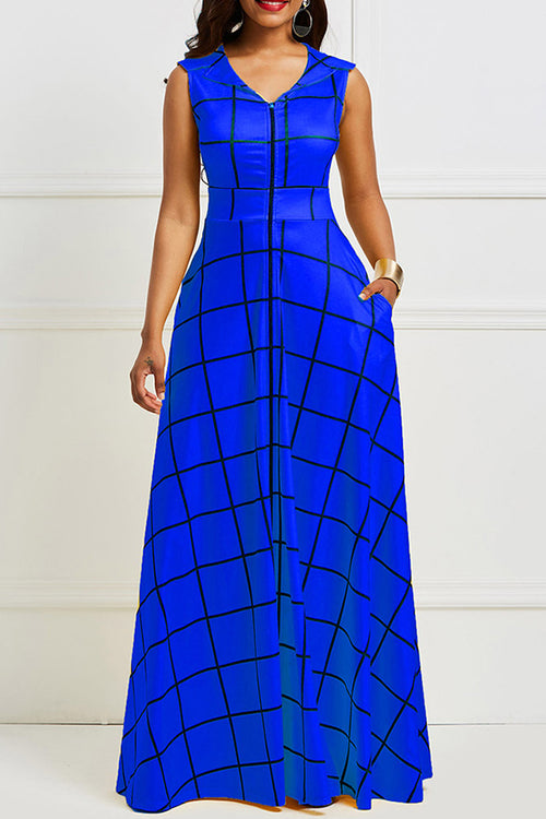 Mercidress Bohemian Turndown Collar Plaid Printed Floor Length Dress
