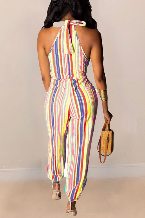 Mercidress Chic Striped Lace-up One-piece Jumpsuit