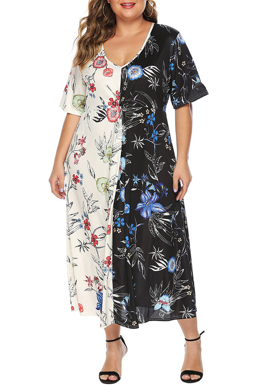 Mercidress Stylish V Neck Printed Patchwork Multicolor Mid Dress