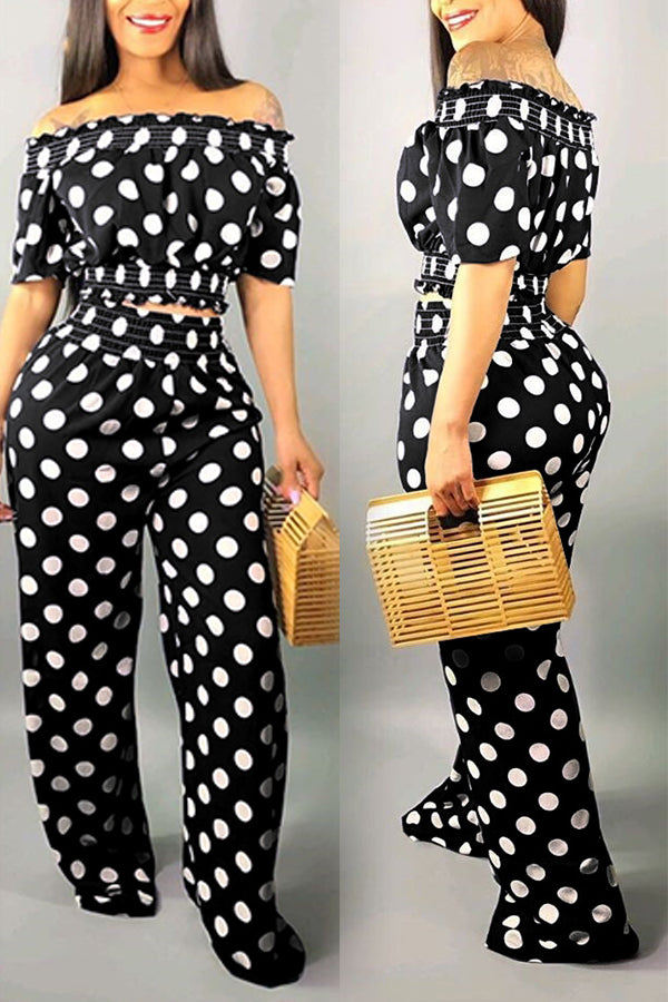 Mercidress Off The Shoulder Dot Printed Two-piece Pants Set