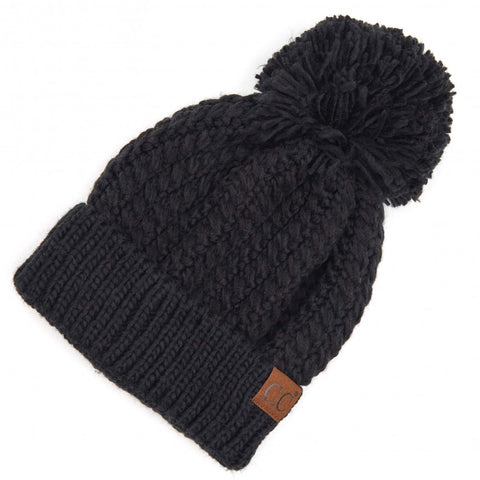 Twisted Mock Cable Knit Pom Beanie Black